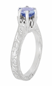 Art Deco Crown Filigree Scrolls Tanzanite Engraved Engagement Ring in Platinum - Click to enlarge