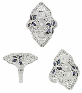 Art Deco Blue Sapphire and Cubic Zirconia Filigree Cocktail Ring in 14 Karat White Gold - Item RV292 - Image 1