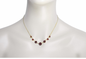 Victorian Bohemian Garnet Flowers Crescent Necklace in Sterling Silver with Yellow Gold Vermeil  - Item N156 - Image 2