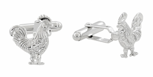 Proud Rooster Cufflinks in Sterling Silver - Item SCL216 - Image 1