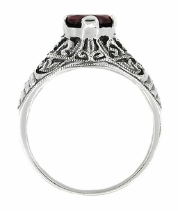 Edwardian Filigree Almandine Garnet Ring in Sterling Silver - Item SSR3 - Image 1