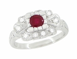 Ruby and Diamond Art Deco 18 Karat White Gold Engagement Ring