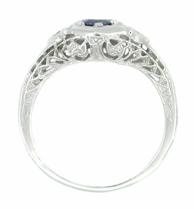 Sapphire and Diamond Filigree Ring in 14 Karat White Gold - Item R179 - Image 1