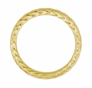 Art Deco Wheat Carved Wedding Band in 14 Karat Yellow Gold - Click to enlarge
