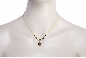 Gorgeous Victorian Bohemian Garnet Floral Drop Necklace in Sterling Silver Vermeil - Click to enlarge