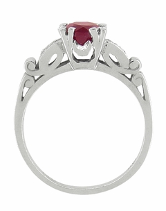 Ruby and Diamonds Art Deco Engagement Ring in 18 Karat White Gold - Click to enlarge
