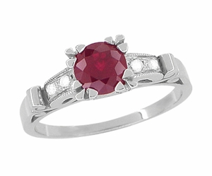 Ruby and Diamonds Art Deco Engagement Ring in 18 Karat White Gold - Item R699 - Image 3