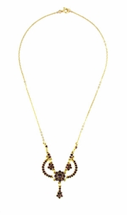 Victorian Bohemian Garnets Teardrop Necklace in Sterling Silver Vermeil - Item N180 - Image 1