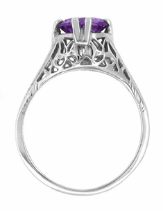 Art Deco Amethyst Filigree Trellis Engagement Ring in 14 Karat White Gold - Click to enlarge