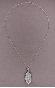 Art Deco Filigree Crystal and Diamond Set Pendant Necklace in 14 Karat White Gold - Click to enlarge