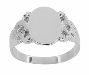 Art Nouveau Oval Signet Ring in 14 Karat White Gold - Item R878W - Image 1