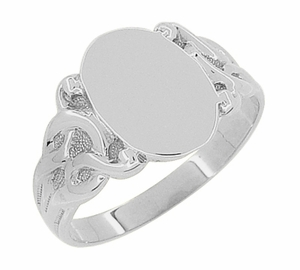 Art Nouveau Oval Signet Ring in 14 Karat White Gold - Click to enlarge