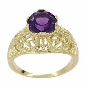 Edwardian Amethyst Filigree Ring in 14 Karat Yellow Gold - Item R718 - Image 1