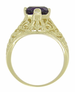 Edwardian Amethyst Filigree Ring in 14 Karat Yellow Gold - Item R718 - Image 2