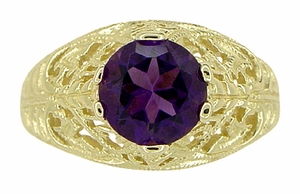 Edwardian Amethyst Filigree Ring in 14 Karat Yellow Gold - Item R718 - Image 4