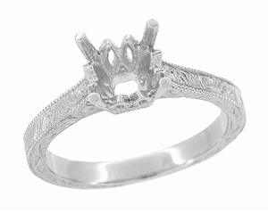 Art Deco 1.50 - 1.75 Carat Crown Filigree Scrolls Engagement Ring Setting in Palladium | Unique Antique Semi Mount Ring - Item R199PRPDM125 - Image 1