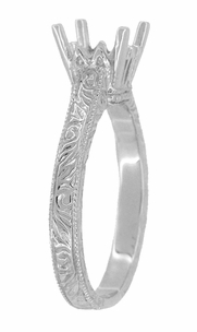 Art Deco 1.50 - 1.75 Carat Crown Filigree Scrolls Engagement Ring Setting in Palladium | Unique Antique Semi Mount Ring - Item R199PRPDM125 - Image 2