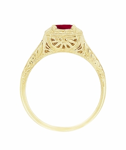 Filigree Scrolls Engraved Ruby Engagement  Ring in 14 Karat Yellow Gold - Click to enlarge