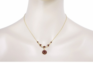 Victorian Bohemian Garnet Floral Drop Necklace in Sterling Silver Vermeil - Item NBG123 - Image 2