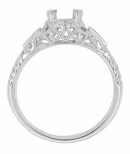 Art Deco Enameled 3/4 - 1 Carat Filigree Engagement Ring Setting in 14 Karat White Gold - Click to enlarge