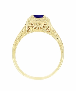 Filigree Scrolls Engraved Sapphire Engagement Ring in 14 Karat Yellow Gold - Click to enlarge