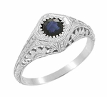 Art Deco Sapphire Filigree Engraved Sunflowers Engagement Ring in 14 Karat White Gold