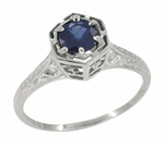 Art Deco Filigree Blue Sapphire Engagement Ring in 14 Karat White Gold