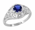 Blue Sapphire and Diamonds Scroll Dome Edwardian Filigree Engagement Ring in 14K White Gold