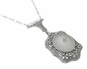 Filigree Art Deco Starburst Camphor Crystal & Diamond Drop Pendant Necklace in Sterling Silver - Click to enlarge
