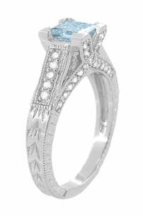 X & O Kisses 1 Carat Princess Cut Aquamarine Engagement Ring in 18 Karat White Gold - Item R701A - Image 2
