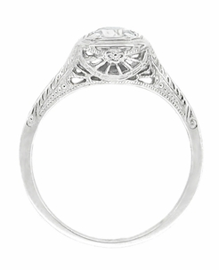 Filigree Scrolls Engraved White Sapphire Engagement Ring in Platinum - Click to enlarge