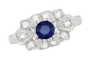 Art Deco Blue Sapphire and Diamonds Engagement Ring in 18 Karat White Gold - Click to enlarge