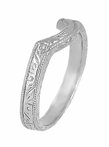 Art Deco Scrolls Engraved Contoured Wedding Band in 18 Karat White Gold - Item WR199W - Image 1