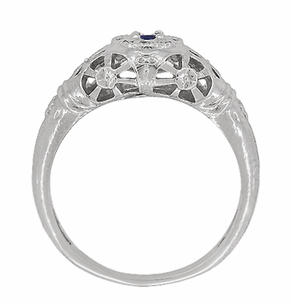 Art Deco Filigree Sapphire Ring in Platinum - Item R335P - Image 3