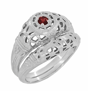 Art Deco Filigree Ruby Ring in Platinum - Item R698P - Image 5