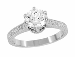 Art Deco Crown Filigree Scrolls 1.23 Carat Solitaire Diamond Engraved Engagement Ring in 18 Karat White Gold