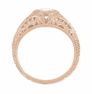 Art Deco Engraved Filigree White Sapphire Engagement Ring in 14 Karat Rose ( Pink ) Gold - Item R138RWS - Image 2