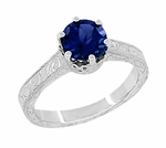 Art Deco Crown Filigree Scrolls 1.5 Carat Blue Sapphire Engraved Engagement Ring in 18 Karat White Gold, Simple Antique Sapphire Engagement Ring Design