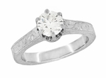 Art Deco Crown Filigree Scrolls Engraved 1 Carat White Sapphire Engagement Ring in 18 Karat White Gold