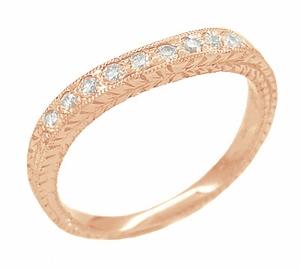 Art Deco White Sapphire Engraved Curved Wheat Engraved Wedding Band in 14 Karat Rose ( Pink ) Gold - Click to enlarge