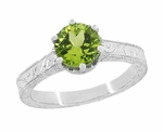 Art Deco Crown Filigree Scrolls Solitaire Peridot Engagement Ring in 18 Karat White Gold