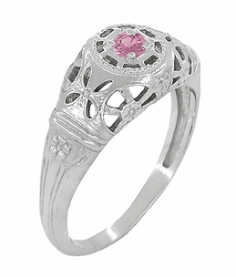 Art Deco Filigree Pink Sapphire Ring in Platinum - Item R428PPS - Image 1