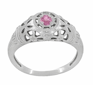 Art Deco Filigree Pink Sapphire Ring in Platinum - Item R428PPS - Image 2