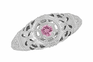 Art Deco Filigree Pink Sapphire Ring in Platinum - Item R428PPS - Image 3