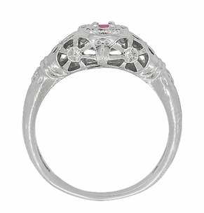 Art Deco Filigree Pink Sapphire Ring in Platinum - Item R428PPS - Image 4