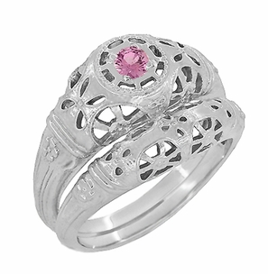 Art Deco Filigree Pink Sapphire Ring in Platinum - Item R428PPS - Image 5