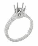 Art Deco 1 Carat Crown Filigree Scrolls Engagement Ring Setting in 18K White Gold | Vintage Inspired 6.5mm Round Stone Mount