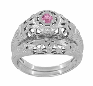 Art Deco Filigree Pink Sapphire Ring in Platinum - Item R428PPS - Image 6