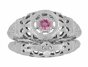 Art Deco Filigree Pink Sapphire Ring in Platinum - Item R428PPS - Image 7