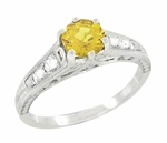 Yellow Sapphire and Diamond Filigree Engagement Ring in 14 Karat White Gold